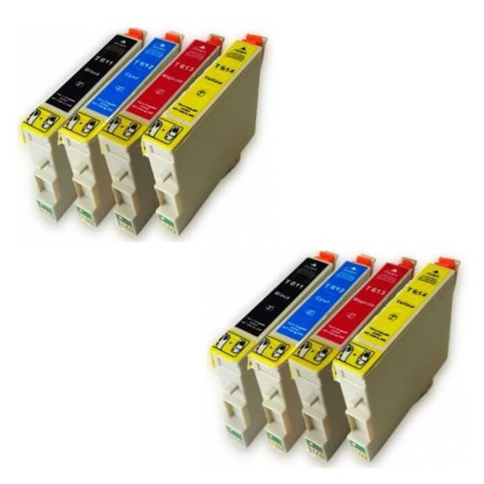 Pack 8 Tinta Compatible Epson T0611 T0612 T0613 T0614