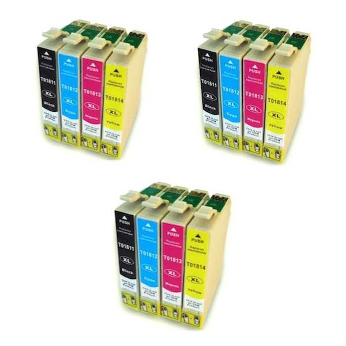 Pack 12 Cartuchos Tinta Compatible Epson 18 XL